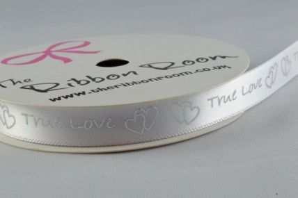 10mm White True Love Ribbon x 4 Metre Rolls!!