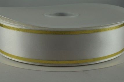 38mm White Satin Tramline Ribbon x 100 metre Rolls!!