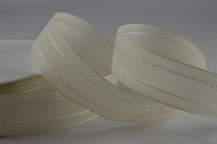 40mm Wired Cream Woven Ribbon x 20 Metre Rolls!!