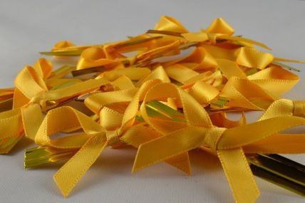 1157 - 6mm Golden Yellow Satin Bows x 100 Pieces!!