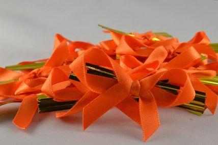 1157 - 6mm Orange Satin Bows x 100 Pieces!!