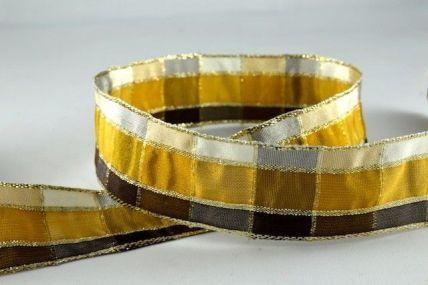 15mm, 25mm & 40mm Gold & Bronze Wired Regal Plaid Ribbon x 3 Metre Rolls!!