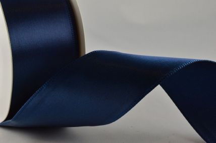 38mm Navy Wired Single Sided Satin x 3 Metre Rolls!