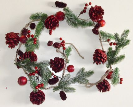 Red Christmas Garlands with Pine Cones, Ice Frosting & Berries