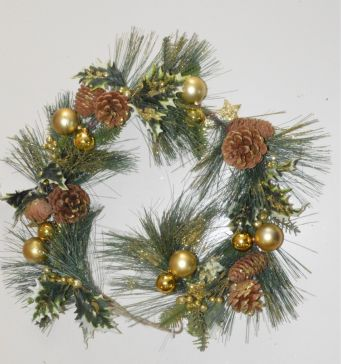 Gold Christmas Garlands with Pine Cones, Holly & Baubles