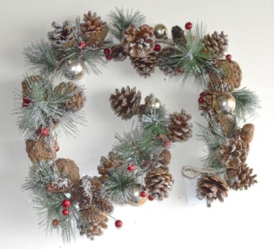 Snow Covered Christmas Pine Cones & Baubles Garlands