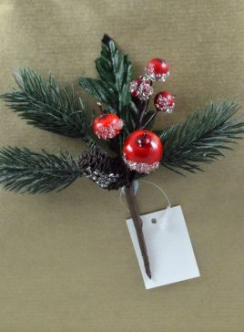 Pine Cone & Holly Leaf Christmas Pick