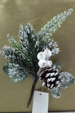 22013 - Snow covered pine cone and leaves - Christmas pick