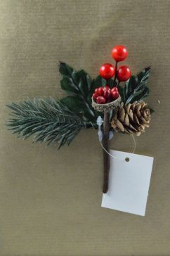 Holly, Red Berries & Pine Cone Christmas Pick
