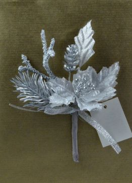 Silver Lurex Floral Wedding & Christmas Pick