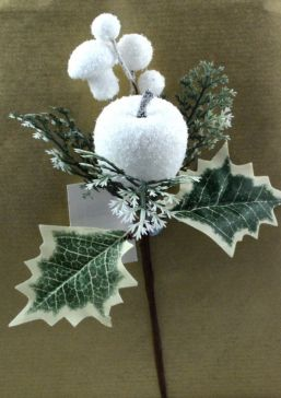 Snow Ball & Holly Leaf Christmas Pick