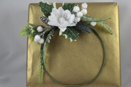 22025 - Snowy Blossoming White Flower & Pine Cone Wreath