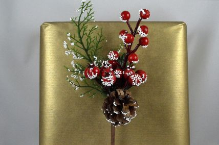22043 - Dotted Snow Berries & Pine Cones Christmas Pick