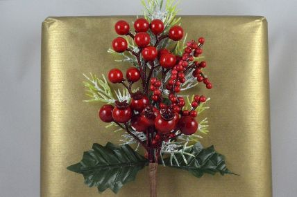 22046 - Holly & Layered Berries Christmas Pick