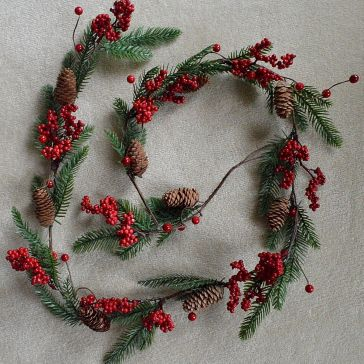 22048 - Christmas Garlands with Pine Cones & Red Berries.
