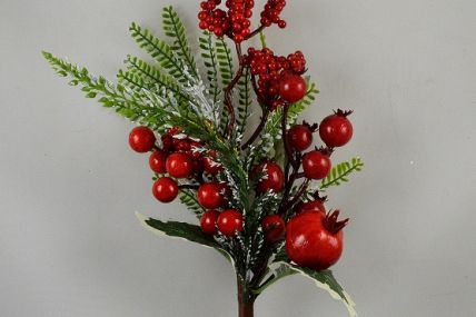 22051 - Holly and Bright Red berries - floral pick