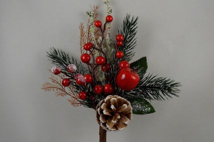 22052 - Traditional Pine Cone & Bright Red Berries with a dusting of sparkle - Christmas Pick
