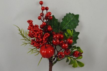 22053 - Green Leaves and Red Berries - floral pick