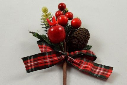 22060 - Berry and Cone festive floral pick with tartan bow