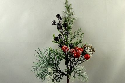 22066 - Winter frosted pine needles embellished with a pine cone and berries - the perfect festive floral pick