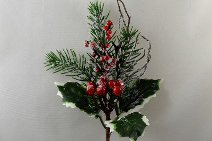 22068 - Winter frosted holly, pine needles and berries - festive floral pick