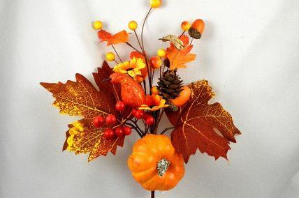 22074 - Autumn leaves with golden orange natural delights - floral pick