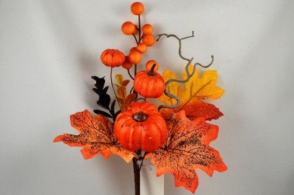 22076 - Autumn leaves with Golden orange pumpkins and berries  - floral pick