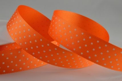 22mm Orange Spotted Grosgrain Ribbon x 20 Metres!