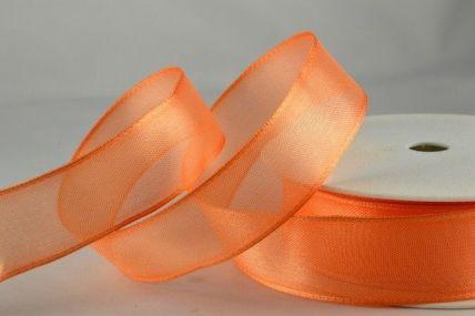 25mm, 40mm & 70mm Peach Orange Wired Sheer Organza Ribbon x 25 Metre Rolls!
