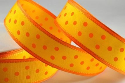 25mm Orange Wired Spotted Ribbon x 20 Metre Rolls!