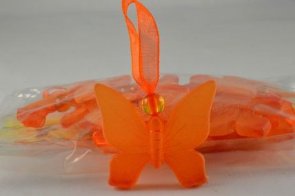 35mm Orange Butterfly with a sheer loop x 12 pieces per pack!
