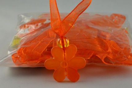 24mm Orange Sunflower with a sheer loop x 24 pieces!