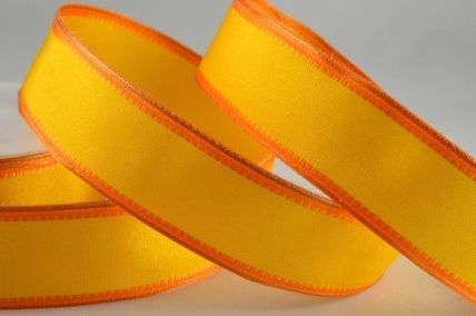 25mm & 40mm Orange Wired Coloured Fancy Edge Ribbons x 20 Metre Rolls!