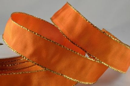 25mm & 40mm Orange Wired Ribbon with Lurex Edge x 25 Metre Rolls!