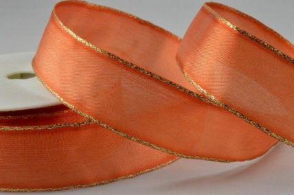 25mm & 40mm Orange Organza Ribbon with Gold Lurex Edge x 20 Metre Rolls!!