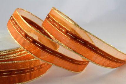 25mm Orange Wired Sheer & Lurex Ribbon x 3 Metre Rolls!