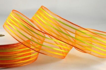 25mm & 40mm Orange Woven Wired Striped Ribbon x 20 Metres!!