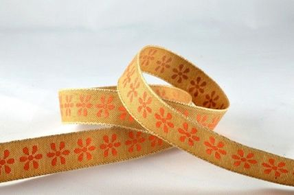 15mm Orange Coloured Flower Ribbon x 4 Metre Rolls!!