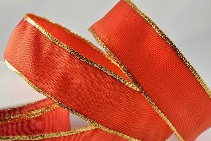 25mm, 40mm & 60mm Deep Orange Lurex Edged Wired Ribbon x 3 Metre Rolls!