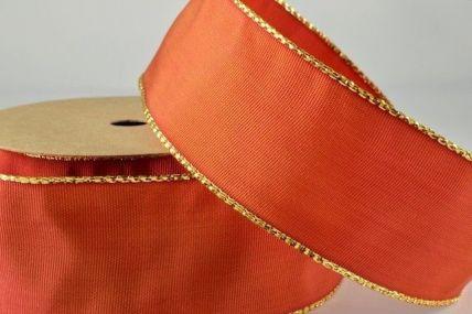 25mm Orange Red Wired Ribbon with Lurex Edge x 25 Metre Rolls!