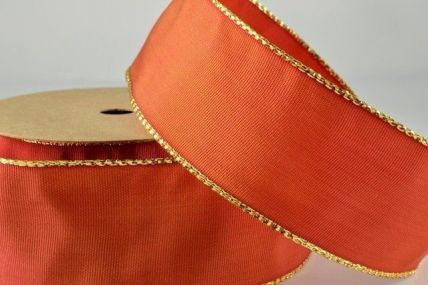 25mm, 40mm & 60mm Orange Red Lurex Edged Wired Ribbon x 3 Metre Rolls!