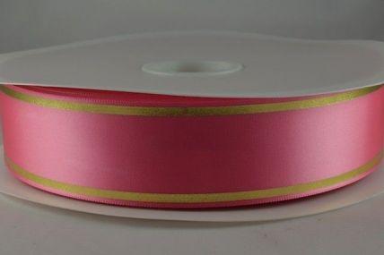 25mm & 38mm Pink Satin Tramline Ribbon x 100 Metre Rolls!!