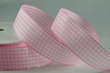 5mm Baby Pink Gingham Ribbon x 50 Metre Rolls!