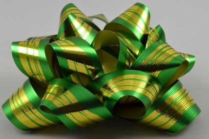 2 x Green Golden Striped Self Adhesive Bows!