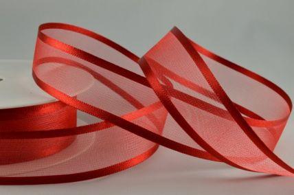 Dark Red Satin Sheer Ribbon x 25 Metre Rolls!