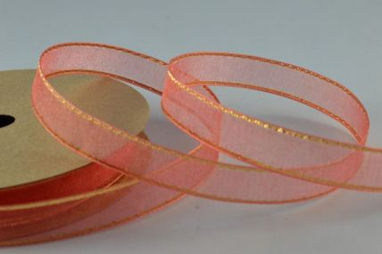 10mm Red Sheer Ribbon with Gold Edge x 3 Metre Rolls!