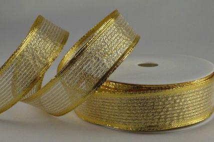 15mm, 25mm & 40mm Gold Wired Shooting Lurex Ribbon x 20 Metre Rolls!