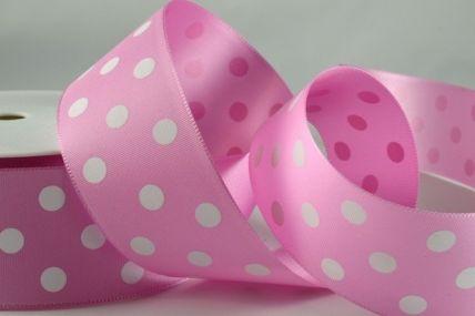 38mm Pale Pink Polka Dot Ribbon x 3 Metre Rolls!