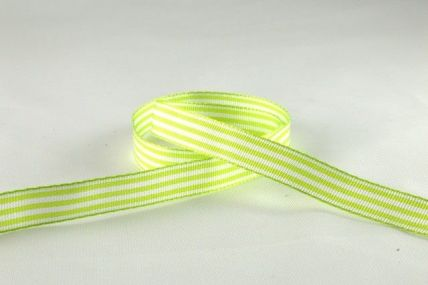 10mm Light Green Woven Striped Ribbon x 5 Metre Rolls!