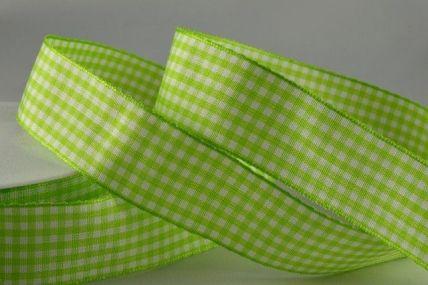 5mm, 10mm & 25mm Light Green Gingham Ribbon x 25 Metre Rolls!